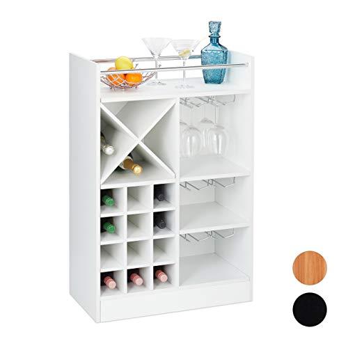 Relaxdays 10028075_49 Wijnrek met glashouder, 22 flessen, vrijstaand, wijn en champagne, huisbar HxBxD: 96 x 63 x 35 cm, wit, PB (particle board)