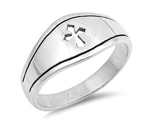 CloseoutWarehouse Sterling Silver Cutout Medieval Cross Fashion Ring Size 5