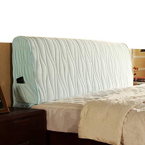 HXHX Funda protectora para cabecera europea, para decoración de cama, tamaño super king, lavable, color azul claro