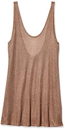 BCBGMAXAZRIA Women's Sheer Tank Racer Back Shimmer Dress Cover-up, Gold, XX-Small