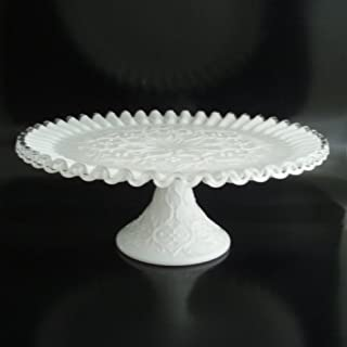 Fenton Glass Silver Crest SPANISH LACE Ftd Cake Plate