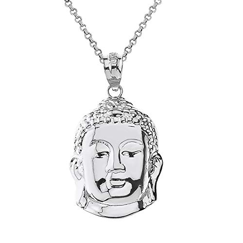 Sterling Silver Buddha Head Zen Yoga Buddhism Protection Amulet Necklace (1.18'), 16'