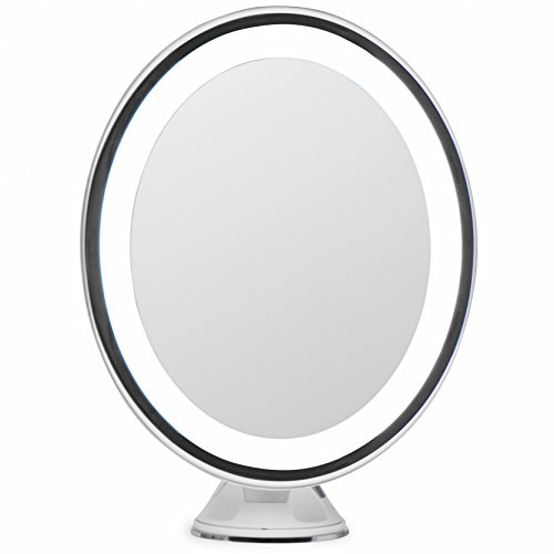 LightLUXE 5X Lighted Magnifying Makeup Mirror w/Bright LED Lights, 360 Swivel, Locking Suction & Unique Oval Countertop Vanity Design | Finally, See Your Whole Face & Neck with Precision