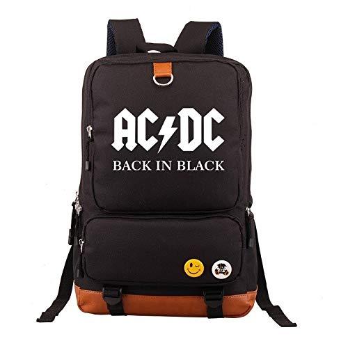 INSTO Rucksack,Schule Tasche Student Schulranzen,ACDC Freizeit Gedruckt Rucksack Einfach Wild/Schwarz / 44×29×13cm