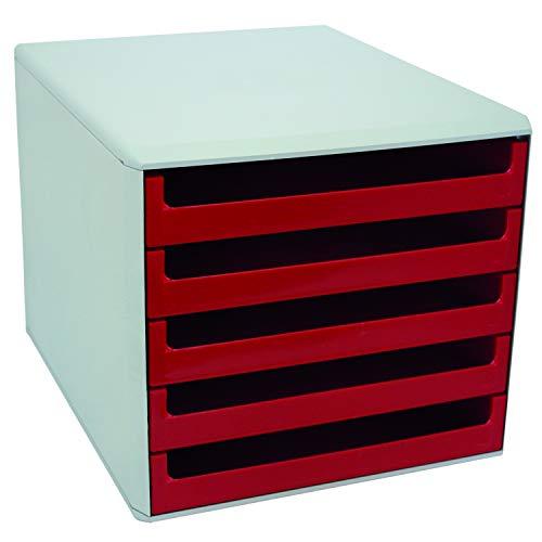 Metzger & Mendle 30050906 hellgraue Schubladenbox mit 5 roten Schüben