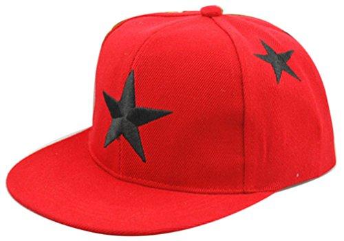 Belsen Kind Hip-Hop Stern Dreidimensional Stickerei Cap Baseball Kappe Hut (rot)