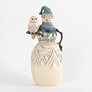 Jim Shore for Enesco Heartwood Creek Snowman with Winter Owl Figurine, 9.5-Inch