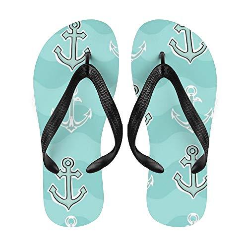 Anchor Flip-Flop Strand-Sommer-Sandalen für Damen, Herren, nautisches Retro-Zickzackmuster, Weiß - Nauti5 - Größe: Large