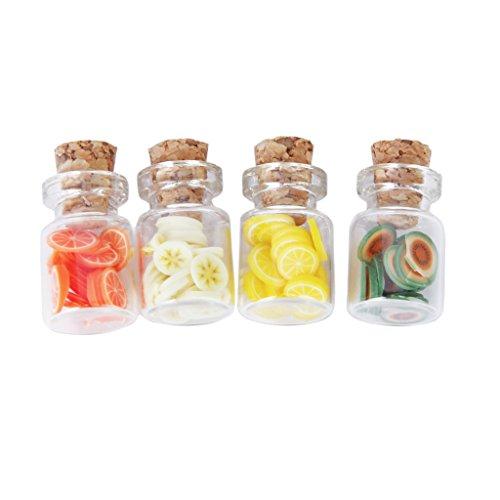 Hellery 1/12 Scala Casa delle Bambole Cucina in Miniatura ACCS Cibo Mobili Bottiglie di Whisky Decor - # 7 4 Set Vaso di Frutta in Vetro