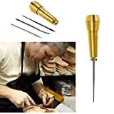 Oulensy 1 Jeu d'outils de cordonniers Aiguilles à Coudre Poinçon Chaussures Craft en Cuir Perforeuses à Coudre Kit cuivre poignée Stitcher Crochet Ligne