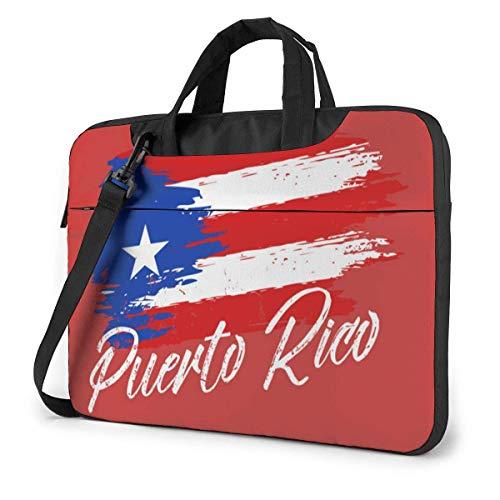 Puerto Rico Flag Laptop Shoulder Bag Compatible With 13-15.6in Laptop MacBook Pro Carrying Shoulder Handbag With Strap,