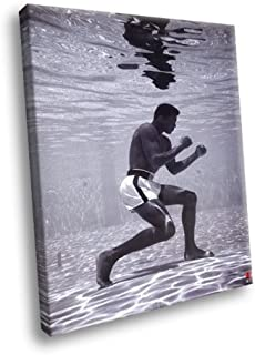 H5D6894 Muhammad Ali Underwater Cassius Clay Boxing BW Sport 20x16 FRAMED CANVAS PRINT