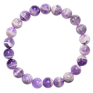 "CHARGED Premium 7"" Chevron Amethyst Crystal 8mm Bead Bracelet Tumble Polished Stretchy (GAIN CREATIVITY, COURAGE, INDEPENDENCE, PROSPERITY - BALANCES EMOTIONS) [REIKI]"
