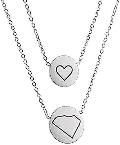 Collar Collar Acero Titanio Color Plateado Mapa Simple Amor InicialMujeres Cadenas Dobles Joyería Regalo Niñas Niños Collar