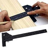Regla en T, regla de trazado de medidas de aleación de aluminio negra, multifunción para taller, caja de herramientas, modeladores, manualidades casera