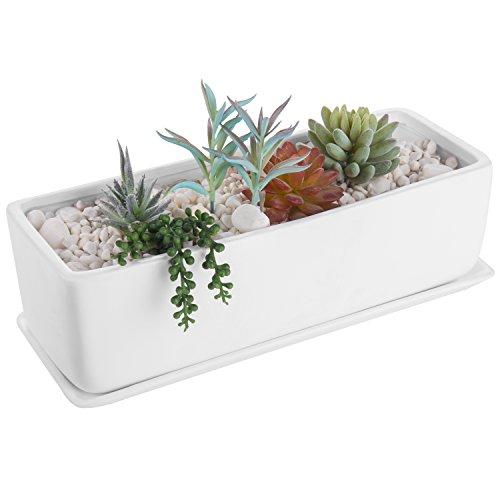 MyGift 35,6 cm rectangulaire moderne en céramique Pot de fleurs artificielles Pot de fleurs, Jardinière avec soucoupe Moderne blanc