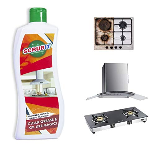 Kitchen Degreaser Cleaner   Non Corrosive   Multipurpose Product - Removes Oil Grease Food Stains / Kitchen Cleaner / Chimney Stove Grill / Kitchen Slab / Tiles / Floor / Sink Cleaner Liquid PH Neutral by Scrubit - (550ml Pack)