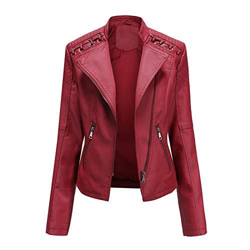 Aniywn Women Faux Leather Blouse Women Ladies Lapel Motorcycle Jacket Coat Zip Biker Short Punk Cropped Tops Short Biker Coat Red