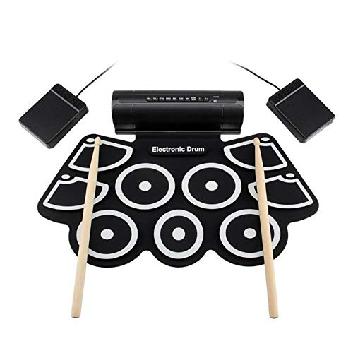 Check Out This LVSSY-Portable Roll Up Electronic MIDI Drum Set Kits 9 Pads Built-in Speakers,Foot Pe...
