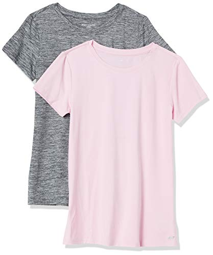 Amazon Essentials 2-Pack Tech Stretch Short-Sleeve Crew T-Shirt fashion-t-shirts, Negro espaciado/rosa claro, US L (EU L - XL)
