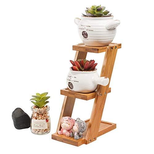 JT- Support pour pots de fleurs succulentes en bambou à 3 étages, convient pour l'intérieur et l'extérieur Couleur : A, Taille : 9,2 x 18 x 25 cm