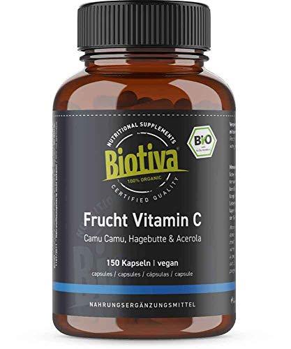 Frucht Vitamin C Mischung Bio - 150 Kapseln - Acerola, Camu, Hagebutte - 5 Monatsvorrat - natürlich, vegan - hochdosiert - Abgefüllt und kontrolliert in Deutschland (DE-ÖKO-005)