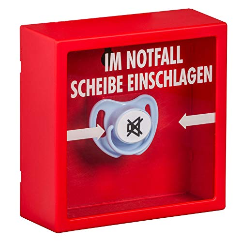 Monsterzeug Notfall Schnuller im Kasten, Box mit Aufschrift, Scherzartikel für werdende Eltern, Babyschnuller als Spaßgeschenk