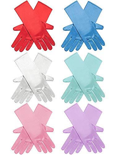 Zhanmai 6 pares de guantes largos para vestir de princesa, brillantes y sedosos de satén para fiestas infantiles, bodas, concurso formal, edades de 3 a 8 años (6 colores)