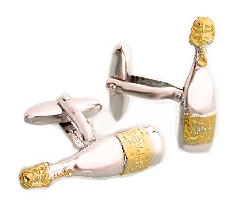 Manschettenknöpfe Champagnerflasche Bicolor teilvergoldet Made in Germany + silberner Geschenkbox