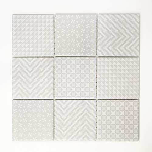 Piastrelle Mosaico Vetro Mosaico Mosaico Piastrelle da parete quadrato in ceramica bagno grigio 5mm # 364
