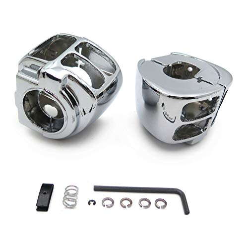 HTTMT MT265-001-CD Chrome Switch Housing Cover Compatible with 1996-2012 Harley Sportster 1996-2012 Harley Dyna 1996-2010 Harley Softail 2002-2012 Harley V-Rod