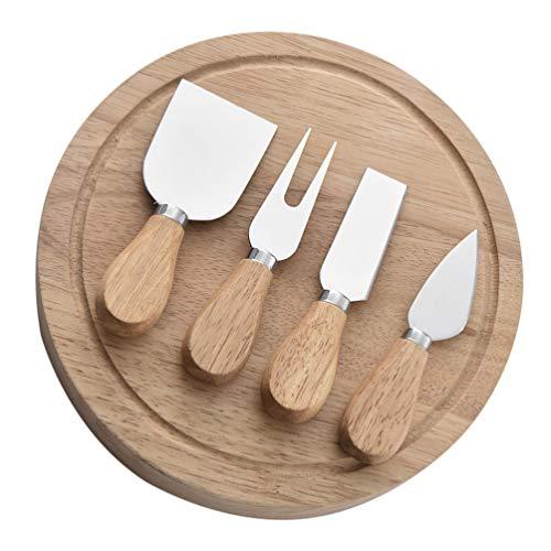 VILLCASE 5 Unids/Set Juego de Cuchillos de Queso Kit de Cortador de Queso de Acero Inoxidable Mango de Madera Pala de Queso Cuchillo de Crema para Pasteles de Cocina con Caja de Madera