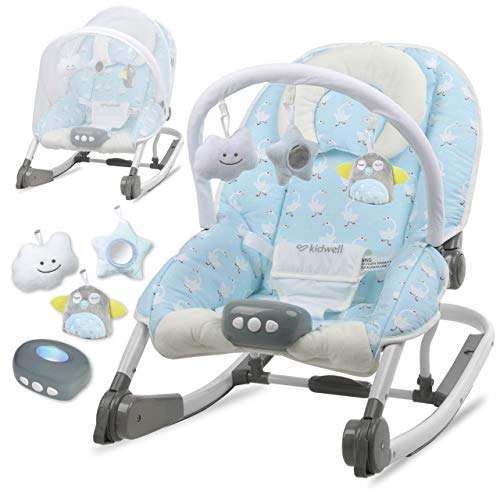 KIDWELL TUMI Multifunktional Babywippe 2in1 | Liege mit Spielbogen & Vibration & Melodien & Licht | ab Geburt bis 18 kg verwendbar | Moskitonetz im Set | Gans-Muster
