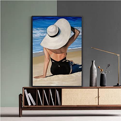 Moda Mujer Arte de la pared Impresión del cartel Bikini sexy Belleza Ocean Beach Lienzo Pintura Imagen de pared moderna Habitación Decoración para el hogar A (50X70Cm) -20x28 Pulgadas Sin marco