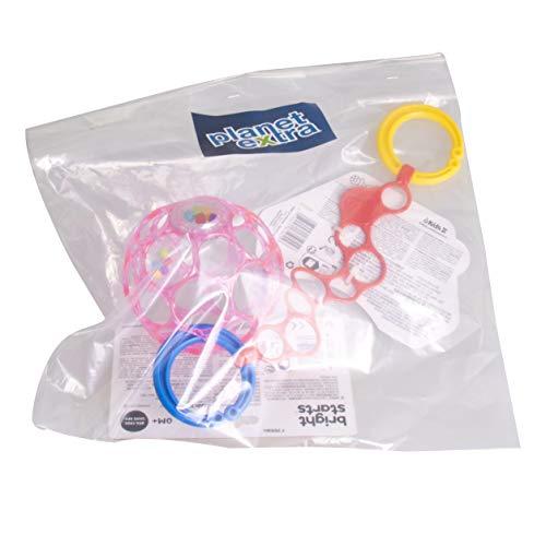 planetextra Oball Rattle Set - Flexibles und leicht greifbares Design, für Kinder jeden Alters, Motorikspielzeug, Spielzeug mit Rassel (1x Oball Rattle 10cm Pink transparent & 1x O-Link Rot)
