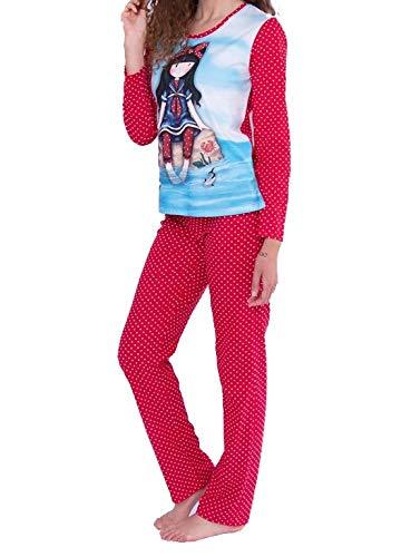 Santoro Gorjuss Pijama de 2 piezas de camiseta + pantalón de algodón Otoño Primavera Verano Original y Autentico, ideal para niña/mujer en bonita caja de regalo (50763, L)