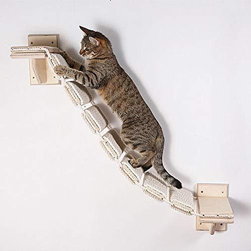 Estantería de madera para gatos y perchas, escaleras para gatos, plataforma de reposamuñecas, caja segura, ahorra espacio, fácil instalación, para jugar y entrenar el sueño (longitud: 39,37 pulgadas)