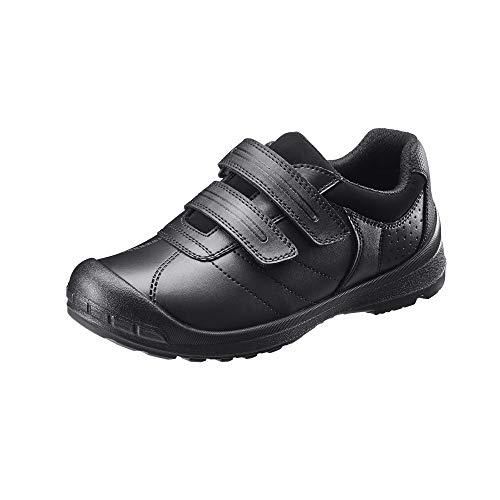 TREADS Zapatos Escolares de Piel con Velcro para niña con la tecnología de Ajuste Doble de Ancho Ajustable [1.5 / 2 Reino Unido-Negro]