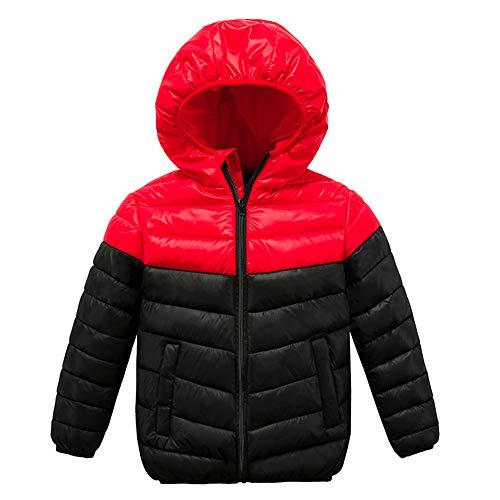 Manadlian Doudoune à Capuche Bébé Léger Enfant Garçon Fille Chaud Hiver Veste à Manches Longues Sport Ski Vêtement Couleur de Couture Blouson Manteau