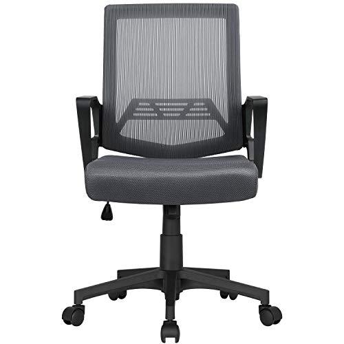 Yaheetech Bürostuhl Ergonomischer Drehstuhl Schreibtischstuhl netzdesign Höhenverstellung und Wippenfunktion mit rollen