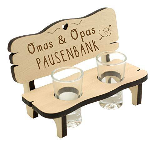 Spruchreif PREMIUM QUALITÄT 100% EMOTIONAL · Schnapsbank mit Gravur · Schnapsbank für Eltern · Schnapslatte mit 2 Gläsern · Geschenke für Großeltern · Pausenbank für Oma und Opa · Geschenk Großeltern