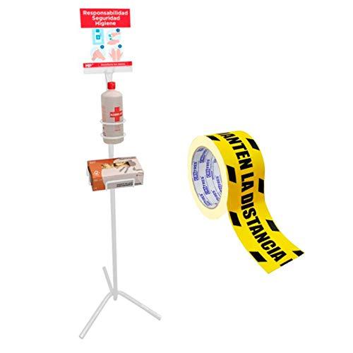 Packer PRO Soporte Dispensador de Pie para Gel Desinfectante Manos y Guantes + Cinta de Señalizacion Distancia Seguridad para Comercios, Bares, Restaurantes y Oficinas con Cartel Indicativo