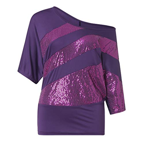 IHEHUA Tunika Damen Sommer T-Shirt Rundhals Einfarbig Pailletten Sparkle Blusen Lässige Trägerbluse Oberteil Lose Tight Wild Tops Street Sweatshirt(Lila,S)
