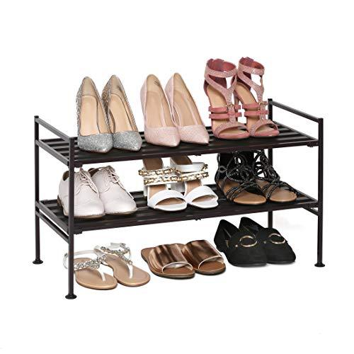 Seville Classics 2-Tier Stackable 9-Pair Shoe Rack Wood Resin Metal Freestanding Closet Entryway Bedroom Footwear Organizer Espresso Slat