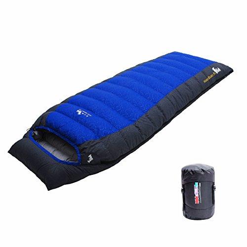 LMR Outdoor Daunenschlafsäcke Ultralight Deckenschlafsäcke für camping mit Kompression Sack (Blau)