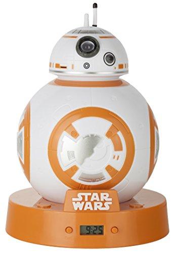 Star Wars BB8Projektion Wecker, Weiß/Orange, 12,5x 12,5x 17,5cm