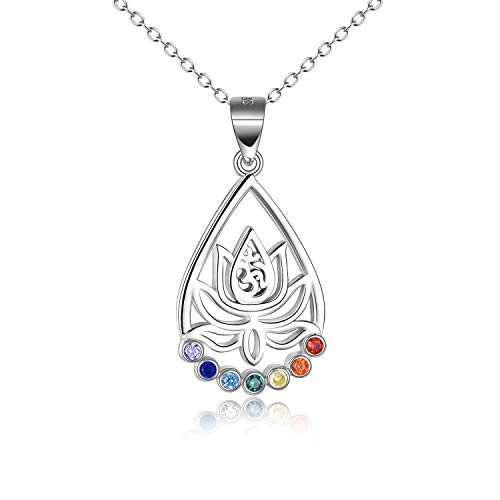 VENACOLY Chakra Necklace Sterling Silver Yoga Lotus Pendant Necklace Chakras Jewellery Gifts for Women Men