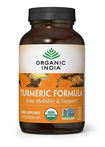ORGANIC INDIA Natural Turmeric Curcumin Supplement, USDA Certified Organic, High Bioavailability Formula, 180 Veg Capsules