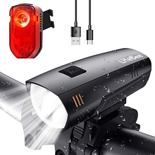 LIFEBEE Fahrradlicht, Led Fahrradlicht Set StVZO Zugelassen Fahrradbeleuchtung USB Fahrradlicht Vorne Rücklicht Fahrradlampe Led Set, Wasserdicht Fahrrad Licht mit 2 Licht-Modi für Mountainbike