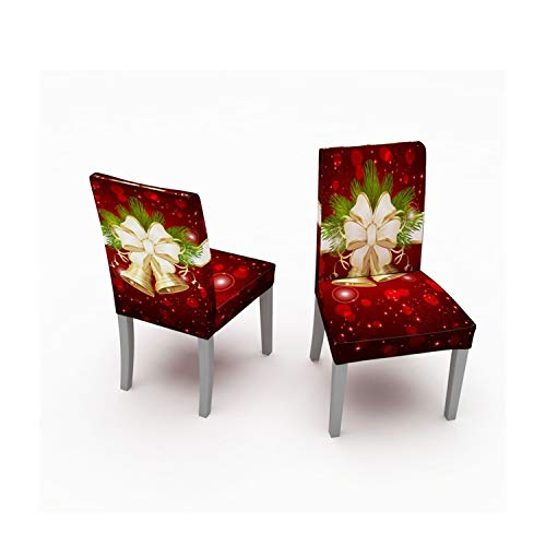 Muuyi Stretch Chair Cover for Dining Room Chair Protector Seat Cover Stretch Slipcover Christmas Bell Furniture for Living Room Ceremony Hotel for Party, 2 Pack